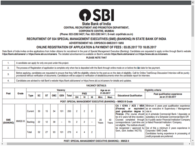 State Bank Of India SME recruitment 2017
