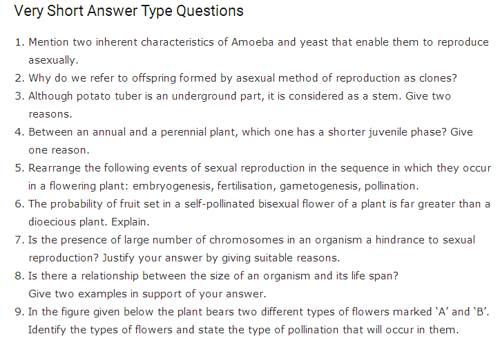 Important Questions Class 12 Biology Chapter 1 Reproduction Organism Part 1