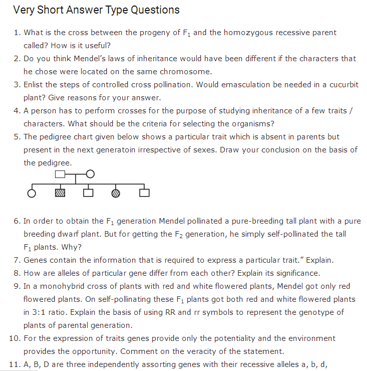 Important Questions Class 12 Biology Chapter 5 Principles Inheritance Variation Part 1