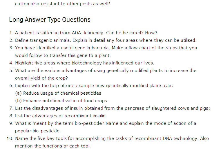 Important Questions Class 12 Biology Chapter 12 Biotechnology Application Part 3