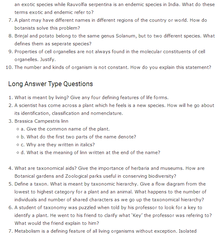 Important Questions Class 11 Biology Chapter 1 Living World Part 2
