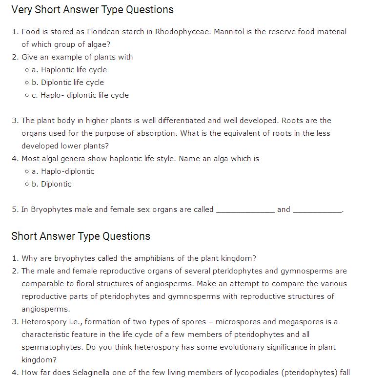 Important Questions Class 11 Biology Chapter 3 Plant Kingdom Part 1