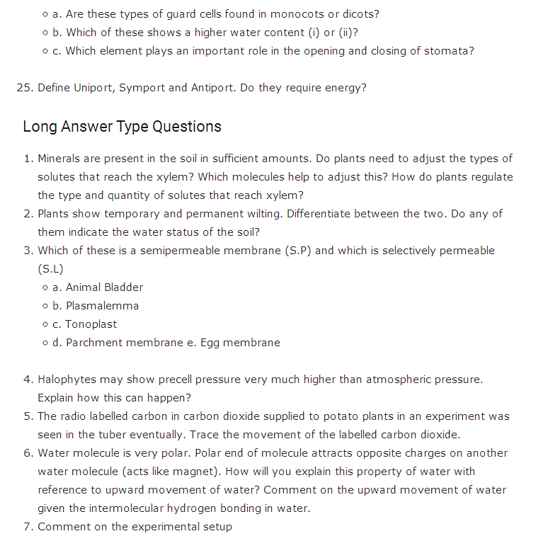 Important Questions Class 11 Biology Chapter 11 Transport Plants Part 6