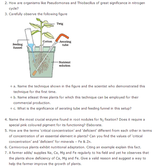 Important Questions Class 11 Biology Chapter 12 Mineral Nutrition Part 2