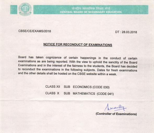 CBSE Orders Re-exam