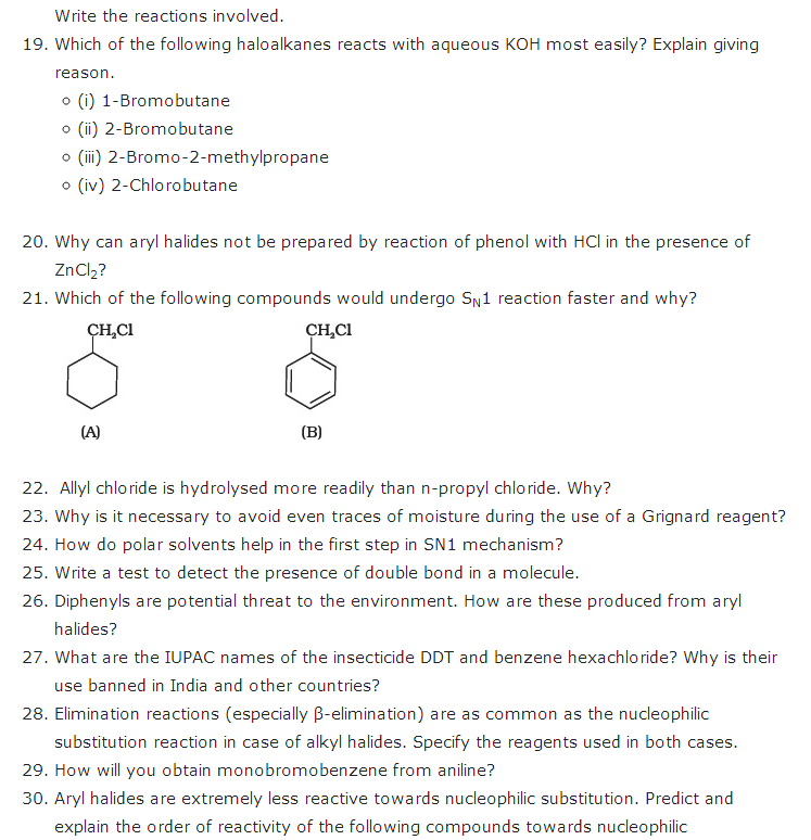 important questions class 12 chemistry chapter 10 haloalkanes haloarenes 3