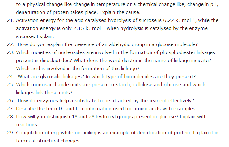 important questions class 12 chemistry chapter 14 biomolecules 3