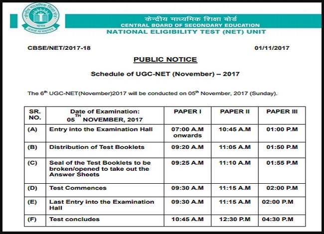 UGC NET 2017 Exam Schedule