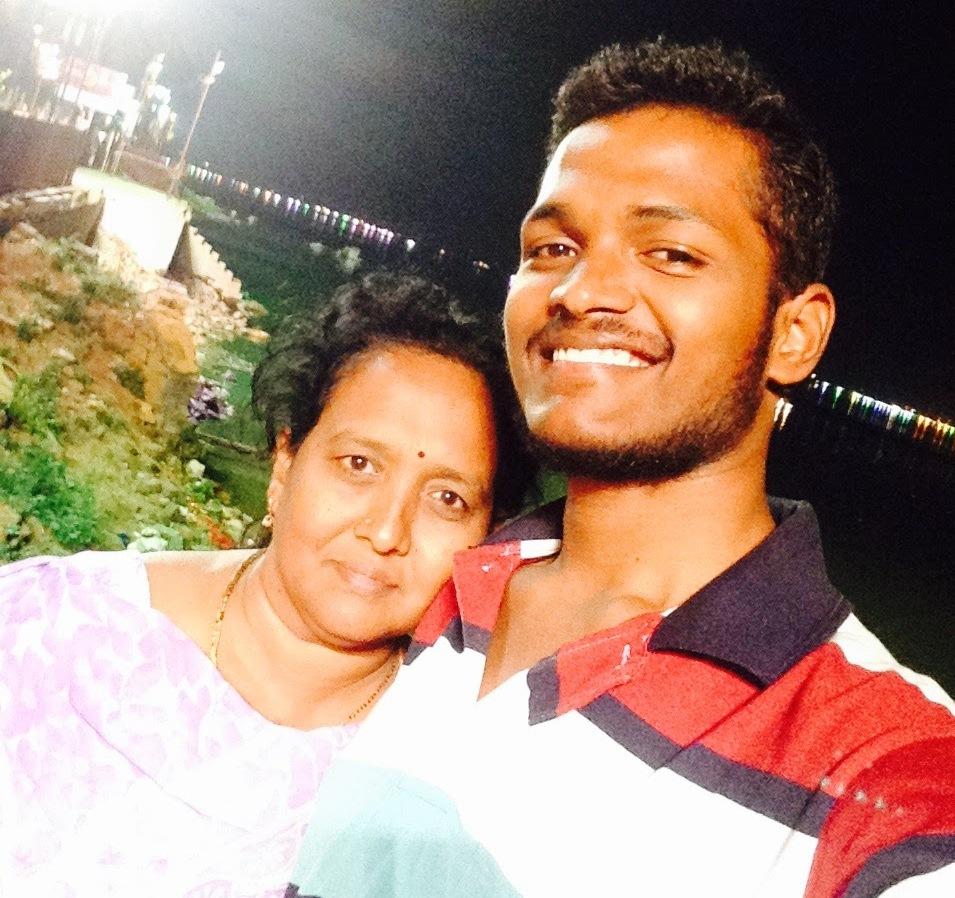 Srireddy Ravitej with his mom