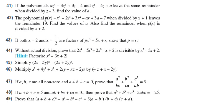 Important Questions Class 9 Maths Chapter 2 Polynomial Part 5
