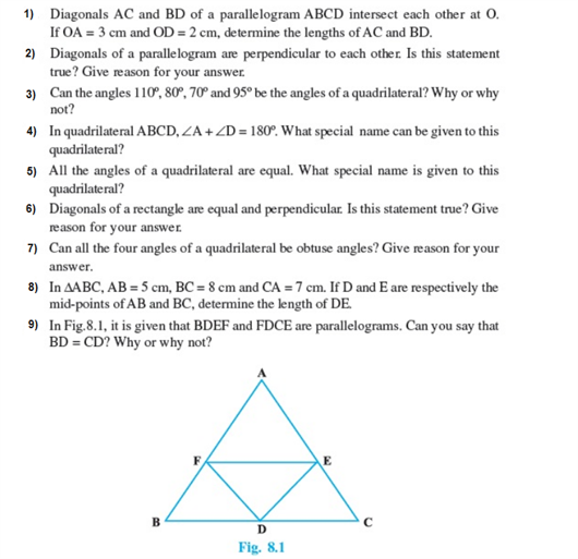 important questions class 9 maths chapter 8 quadrilaterals 1