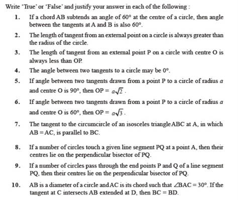 Important Questions Class 10 Maths Chapter 10 Circles Part 1