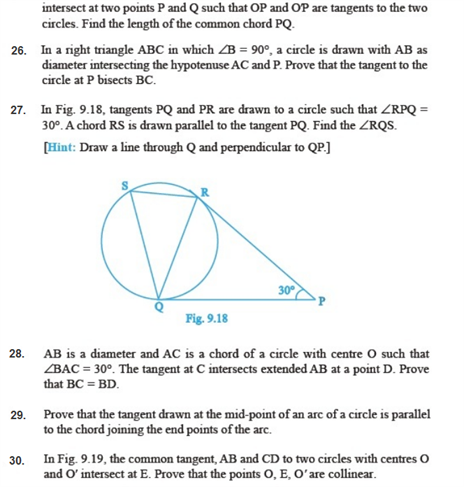 Important Questions Class 10 Maths Chapter 10 Circles Part 4
