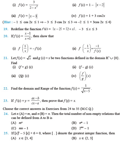 important questions class 11 maths chapter 2 relations functions 3