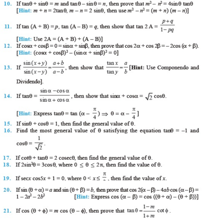 Important Questions Class 11 Maths Chapter 3 Trigonometric Functions Part 2