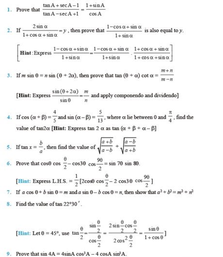 Important Questions Class 11 Maths Chapter 3 Trigonometric Functions Part 1