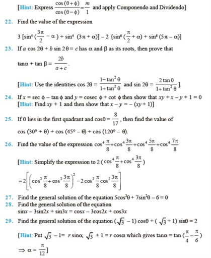 Important Questions Class 11 Maths Chapter 3 Trigonometric Functions Part 3