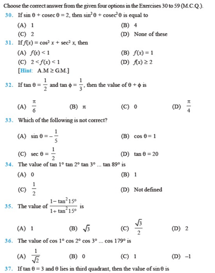 Important Questions Class 11 Maths Chapter 3 Trigonometric Functions Part 4