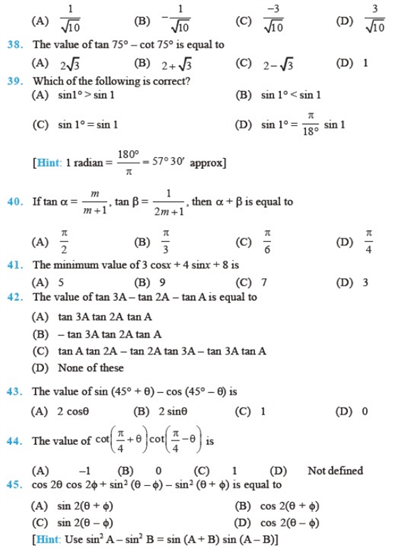 Important Questions Class 11 Maths Chapter 3 Trigonometric Functions Part 5