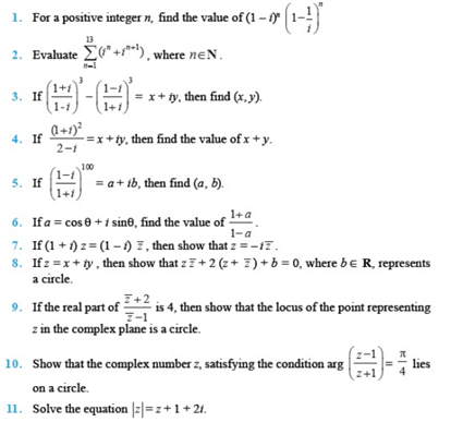 Important Questions Class 11 Maths  Chapter 5 Complex Numbers Quadratic Equations Part 1