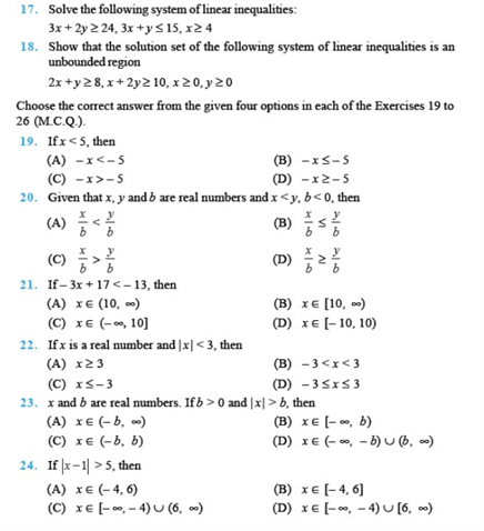 Important Questions Class 11 Maths Chapter 6 Linear Inequalities Part 3