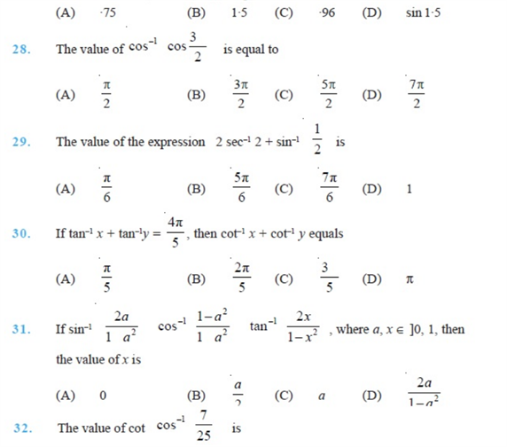 Important Questions For Class 12 Maths Chapter 2 Inverse Trigonometric Functions