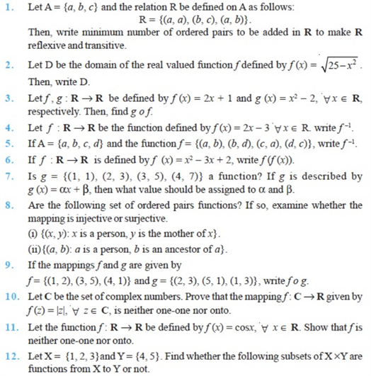 important questions class 12 maths chapter 1 relations functions 1