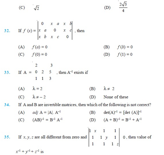 important questions class 12 maths chapter 4 determinants 7