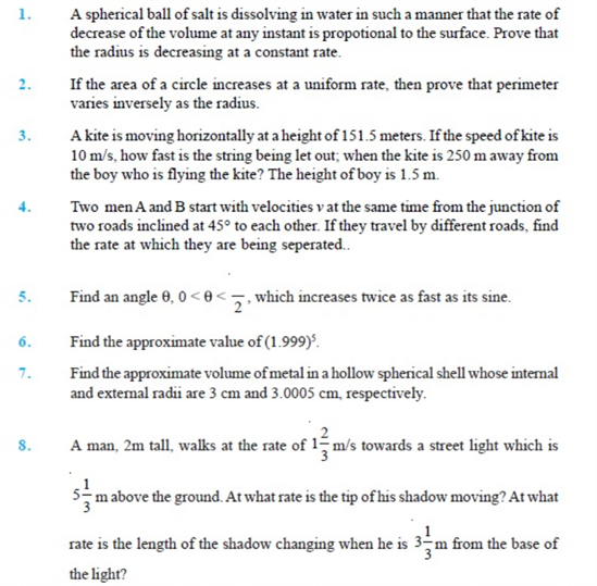 Important Questions Class 12 maths Chapter 6 Applications Derivatives Part 1