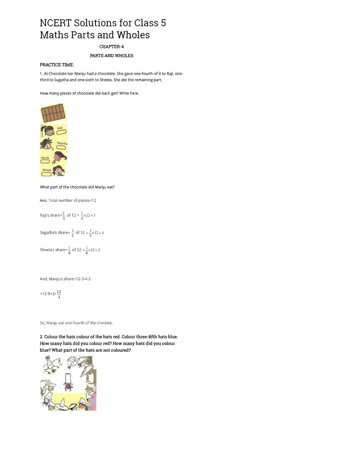 NCERT Solutions Class 5 Maths Chapter 4 Parts and Wholes - BYJU'S