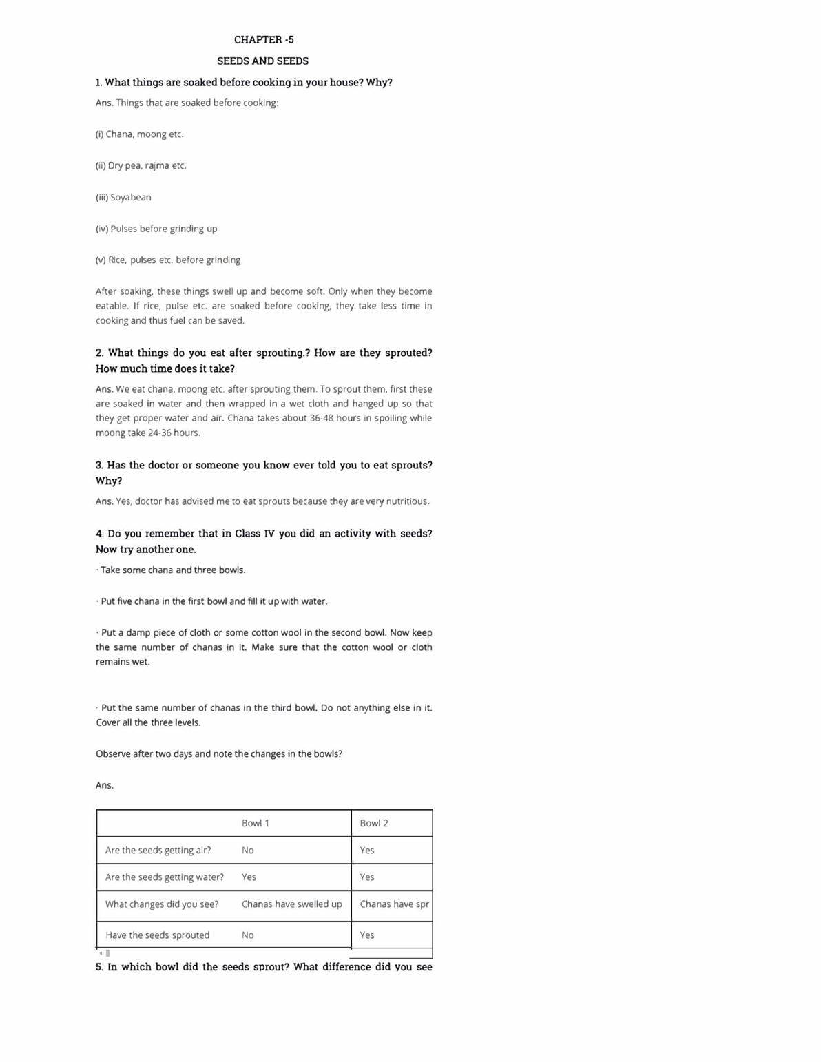 NCERT Solutions Class 5 EVS Chapter 5 Seeds and Seeds - Download Now