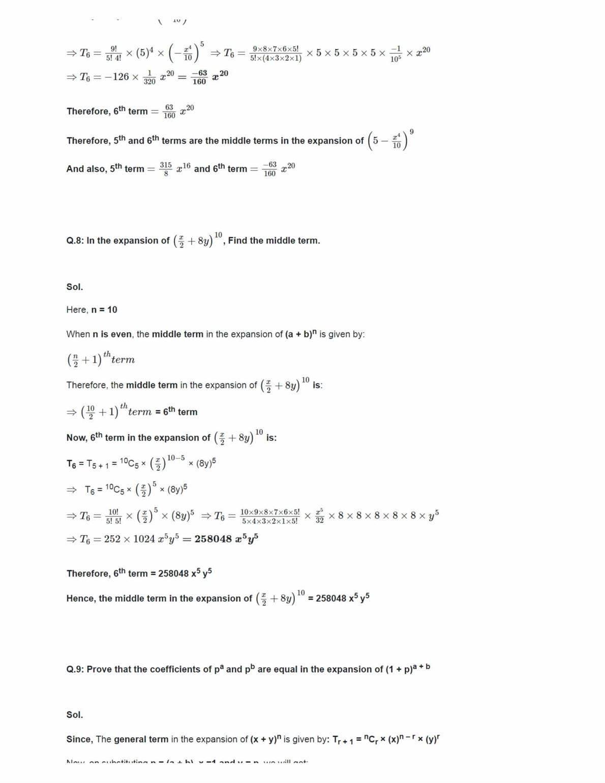 Class 11 Maths Ncert Solutions Chapter 8 Ex 8.2