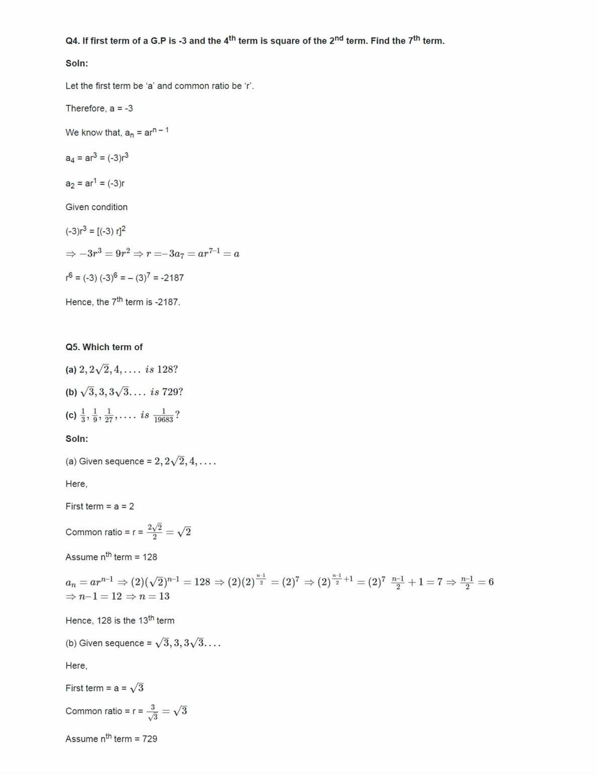 Class 11 Maths Ncert Solutions Chapter 9 Ex 9.3