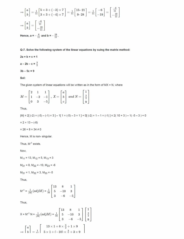 Ncert Solutions For Class 12 Maths Chapter 4 Ex 4.6