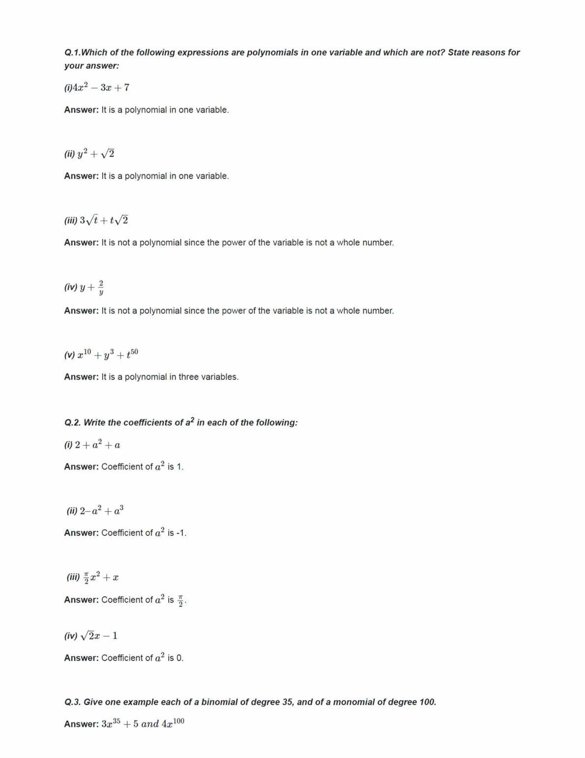 Ncert Solutions For Class 9 Maths Chapter 2 Ex 2.1