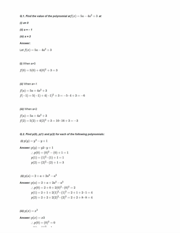 Ncert Solutions For Class 9 Maths Chapter 2 Ex 2.2