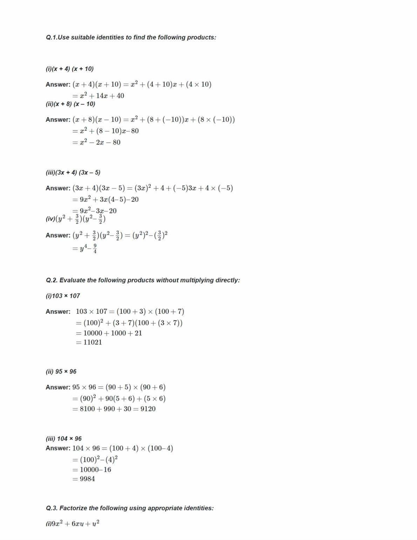 Ncert Solutions For Class 9 Maths Chapter 2 Ex 2.5