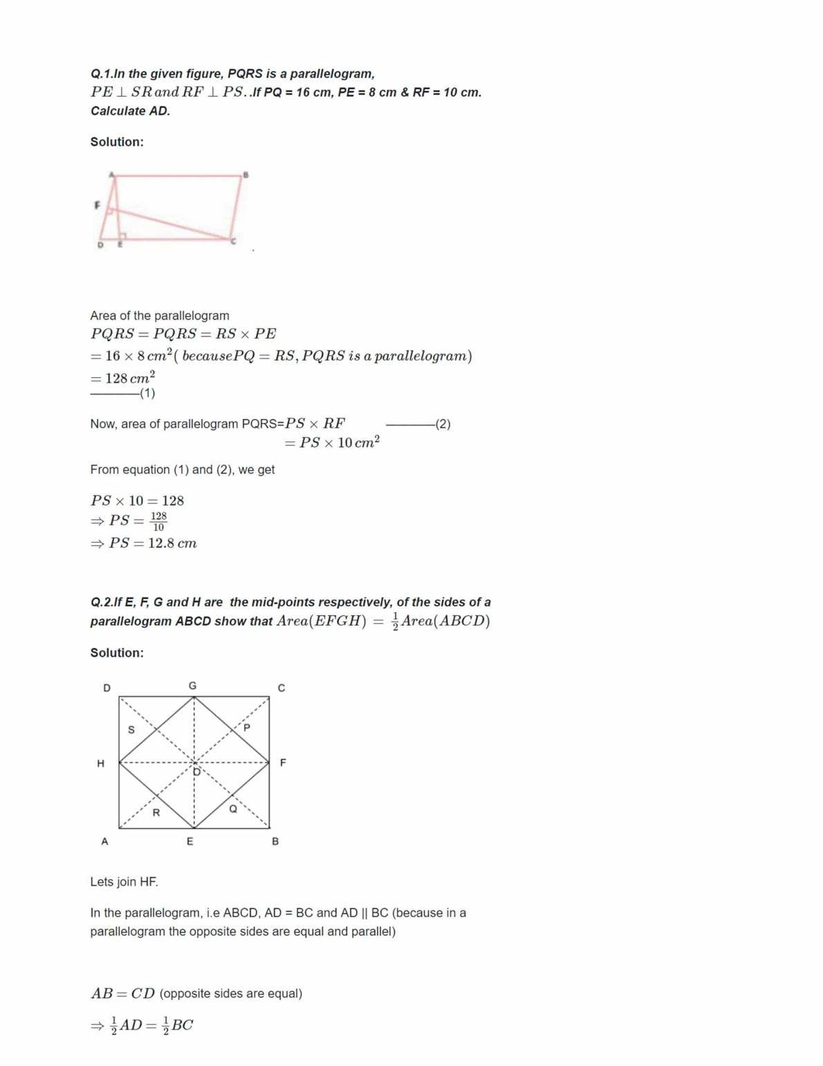 Ncert Solutions For Class 9 Maths Chapter 9 Ex 9.1