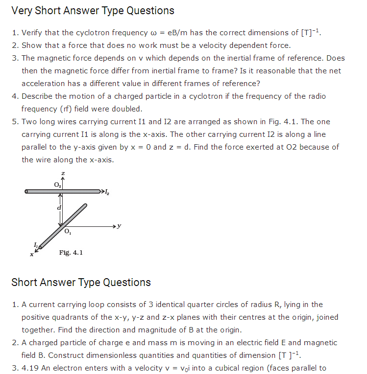 Important Questions For Class 12 Physics Chapter 4 Moving Charges And Magnetism