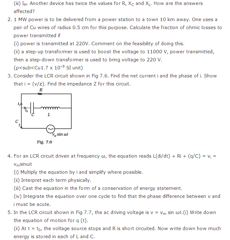 important questions class 12 physics chapter 7 alternating current 4
