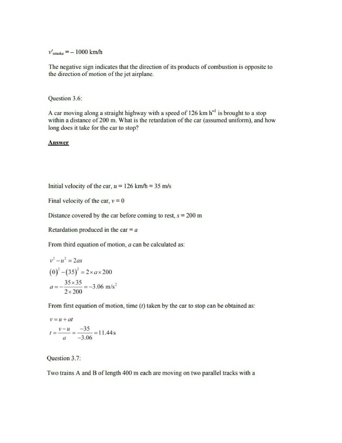 Physics Numericals Class 11 Chapter 3 7