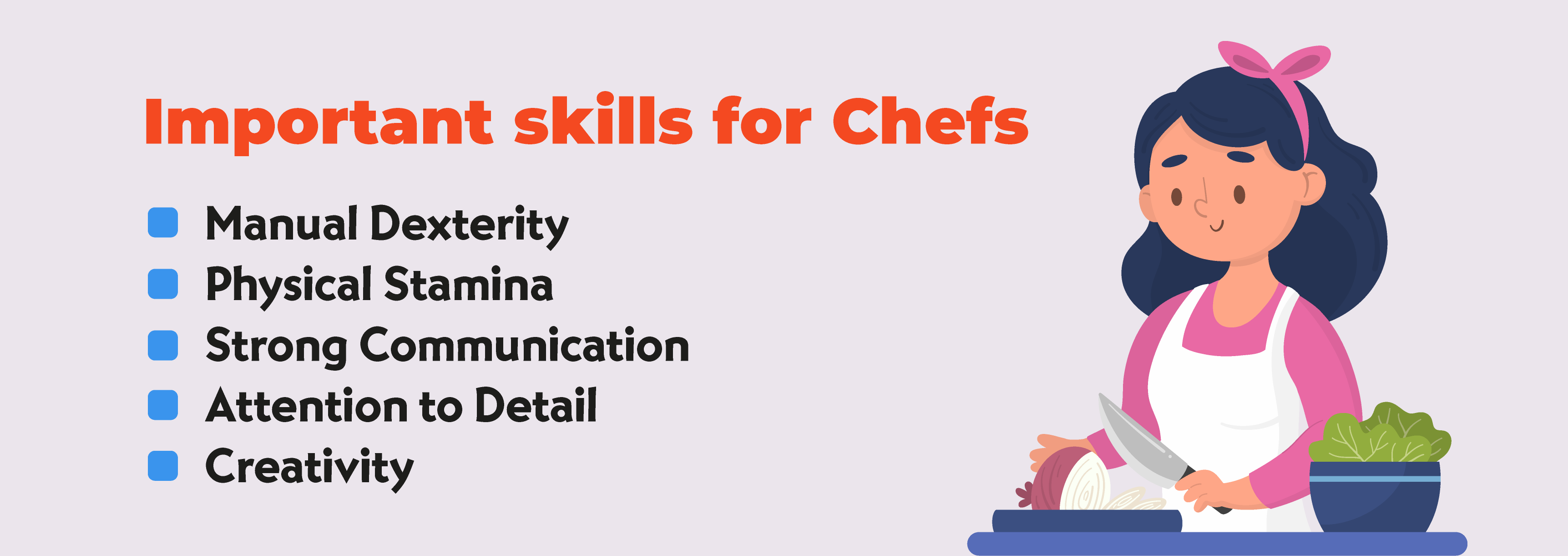 Skills required to become a chef