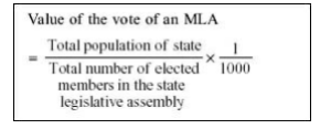 President of India - Value of Vote of an MLA