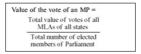 President of India - Value of Vote of an MP