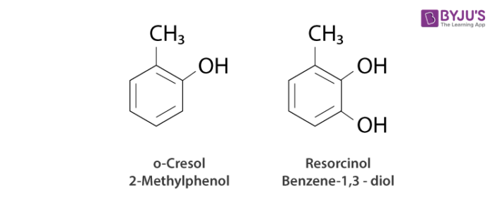 nomenclature of phenols