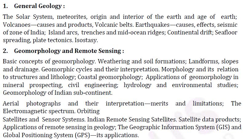 UPSC Geology Optional Paper I Syllabus