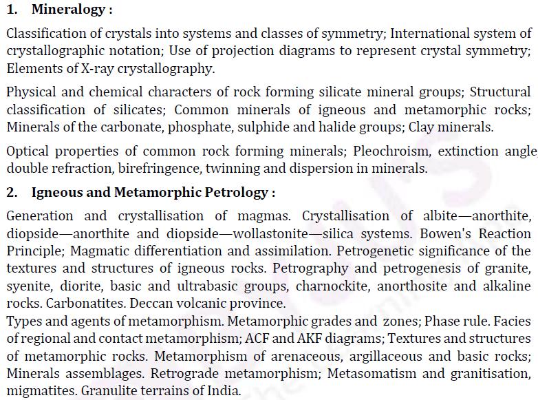 UPSC Geology Optional Paper II Syllabus