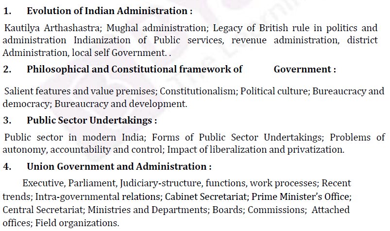IAS Public Administration Syllabus- Public Administration Optional Paper-II 1