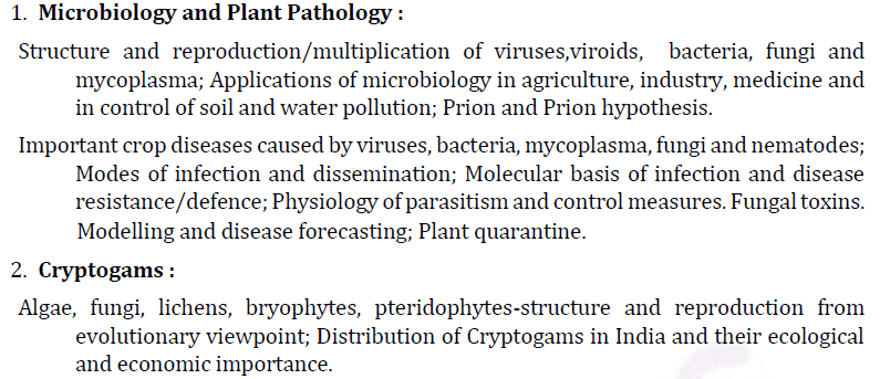 UPSC Botany Syllabus- Botany Optional Syllabus Paper-I 1
