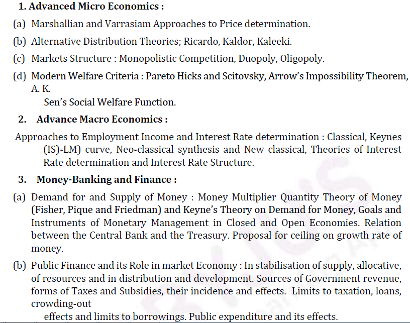 UPSC Economics Syllabus For Optional Paper I